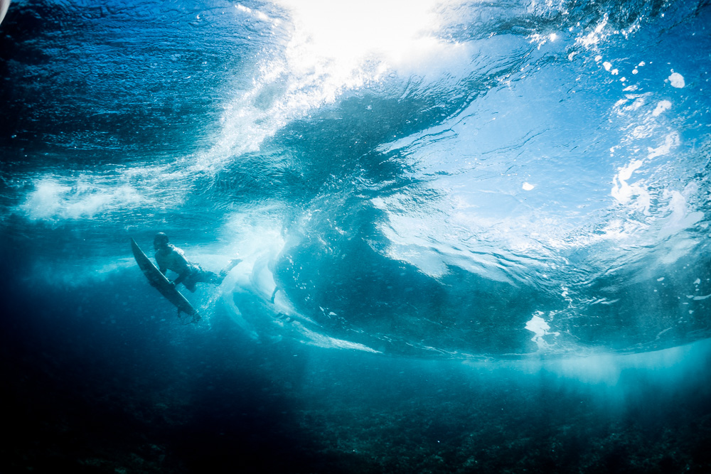 Underwater Barrels at Teahupoo, Billabong Pro 2015 WSL Surf Event. Tahiti, French Polynesia