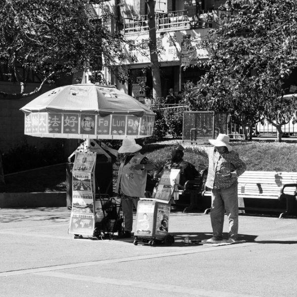 Seniors doing Tai chi at Portsmouth Square, Chinatown, San Francisco