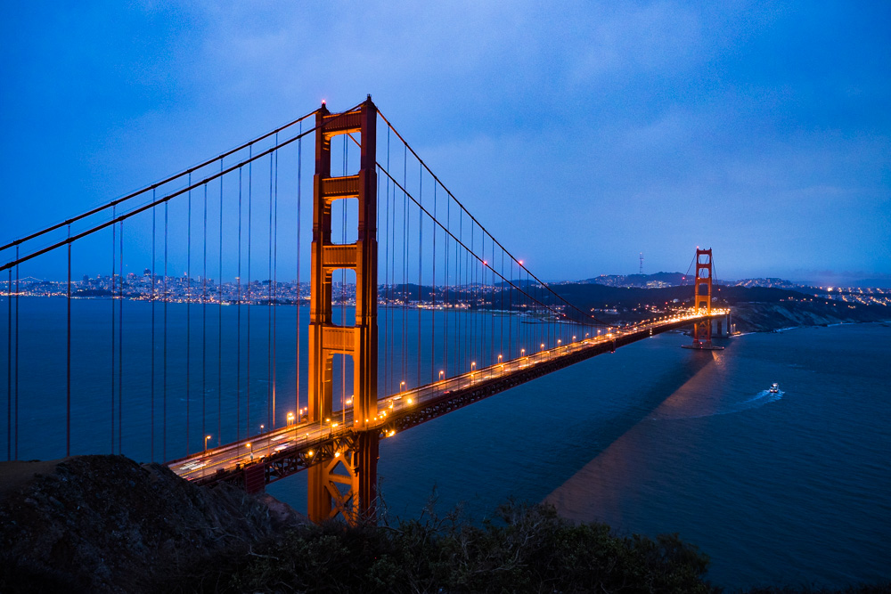 The Golden Gate Bridge at night from Marin Headlands, San Francisco Bay Area. Captured on 12 Sep, 2015 by TheSandyFeet