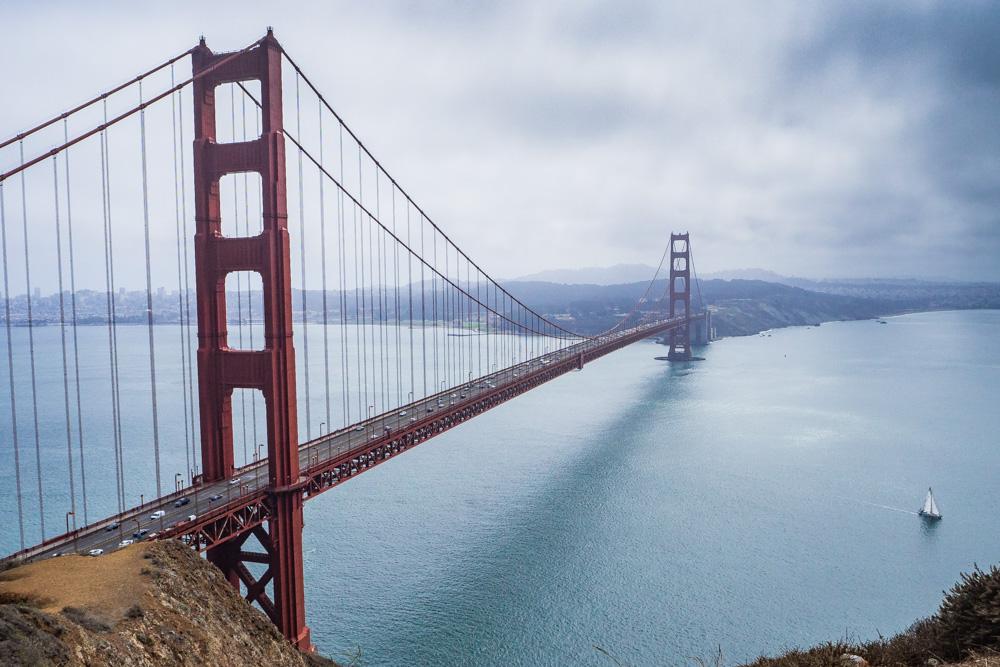 The Golden Gate Bridge from Marin Headlands, San Francisco Bay Area