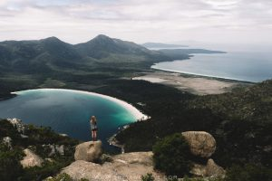 Hiking Mt Amos. Mount Amos Hike. Freycinet National Park. Freycinet Peninsula. Tasmania Australia.